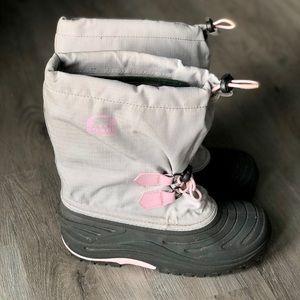SOREL • Grey Pink Boots Waterproof Snow Rubber